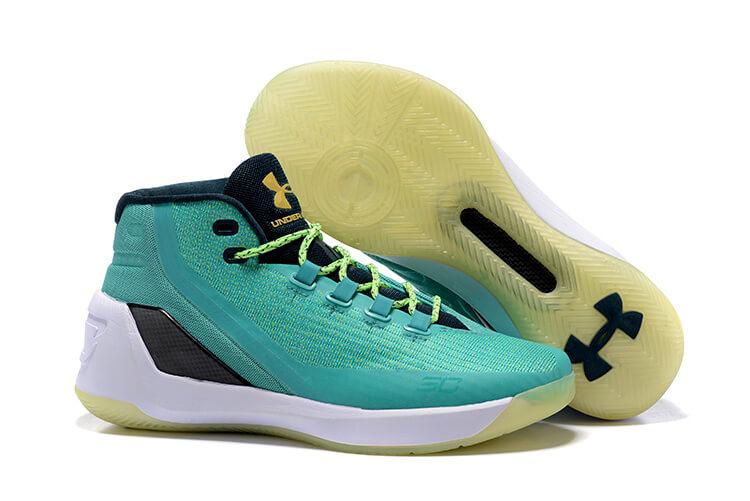 pretty nice 4f144 d1de6 UA Curry 3 Basketball Shoes Green White Black. detail image