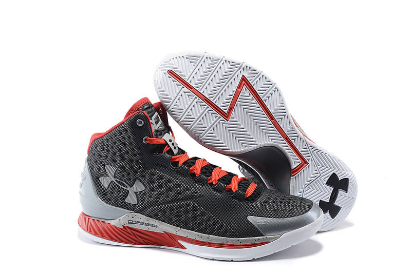 UA Curry One Basketball Shoes Black/Grey/Red
