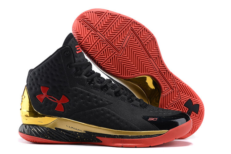 UA Curry One Basketball Shoes Black/Red/Gold