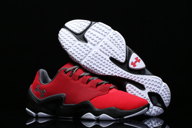 red and black under armour basketball shoes