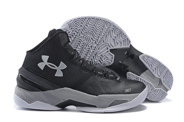 UA Curry Two Basketball Shoes Black/Grey/White