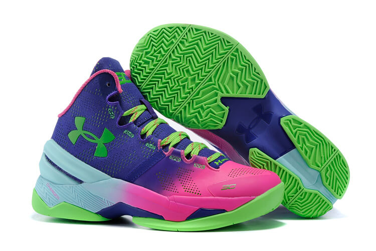 UA Curry Two Basketball Shoes Pink/Navy/Green