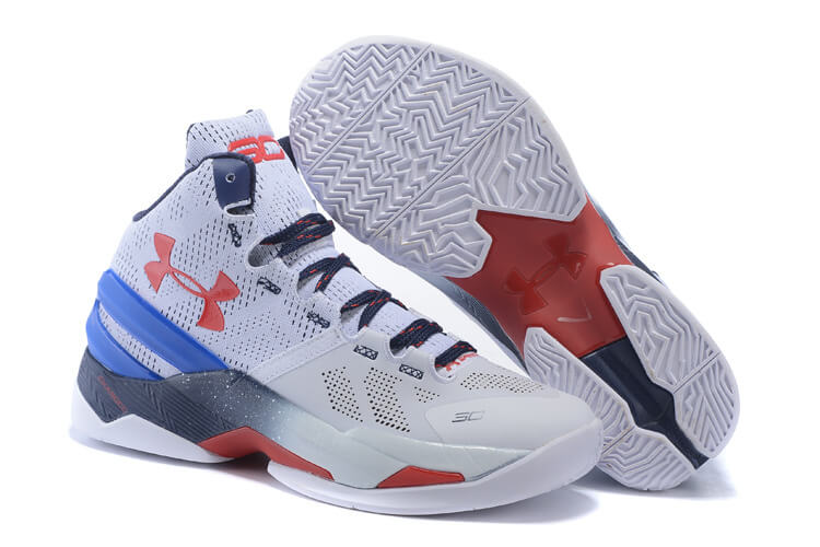 UA Curry Two Basketball Shoes Grey/White Red Blue/Navy