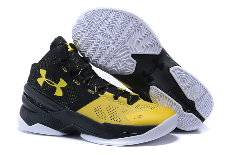 UA Curry Two Basketball Shoes Yellow/Black White