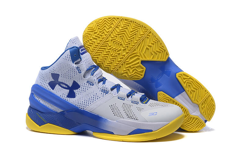UA Curry Two Basketball Shoes Grey/Blue Yellow