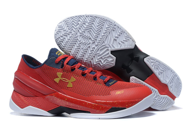 UA Curry Two Low Basketball Shoes Red/Gold